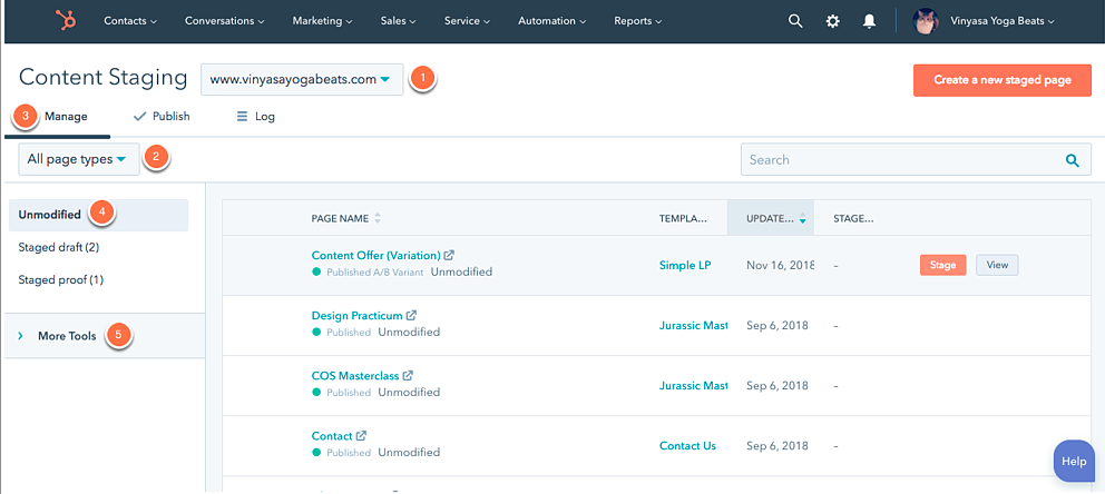 CMS Hub content staging feature